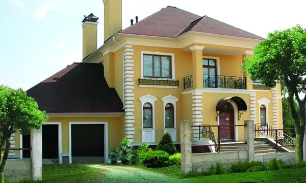 дом с фасадным декорром из пенопласта